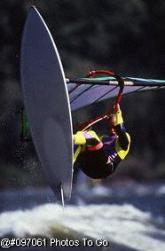 Wind surfing in river